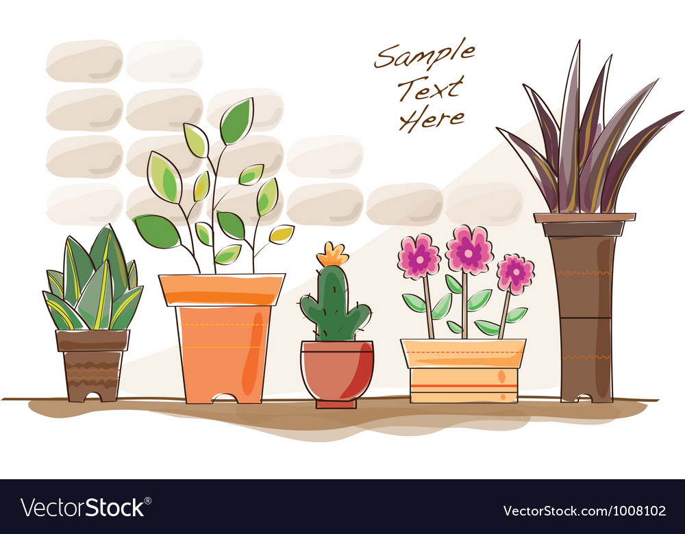 Cartoon pot plants vector | Price: 1 Credit (USD $1)
