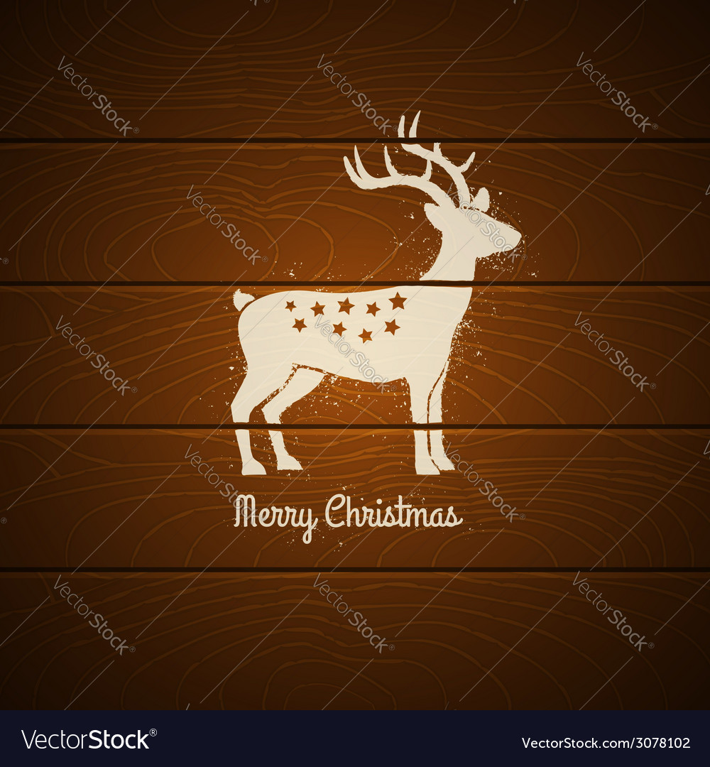 Deer on wooden background vector | Price: 1 Credit (USD $1)