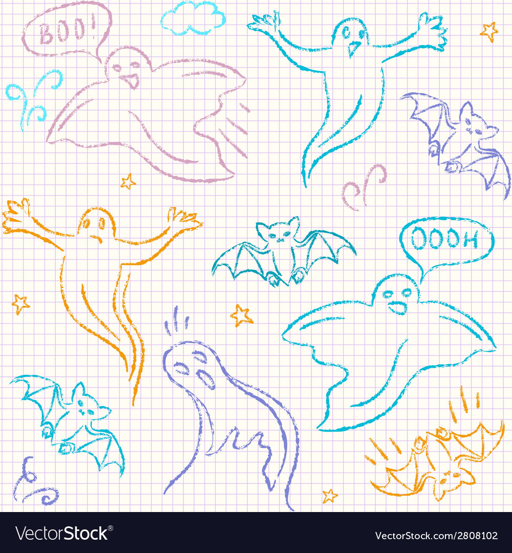 Doodle halloween seamless pattern vector | Price: 1 Credit (USD $1)