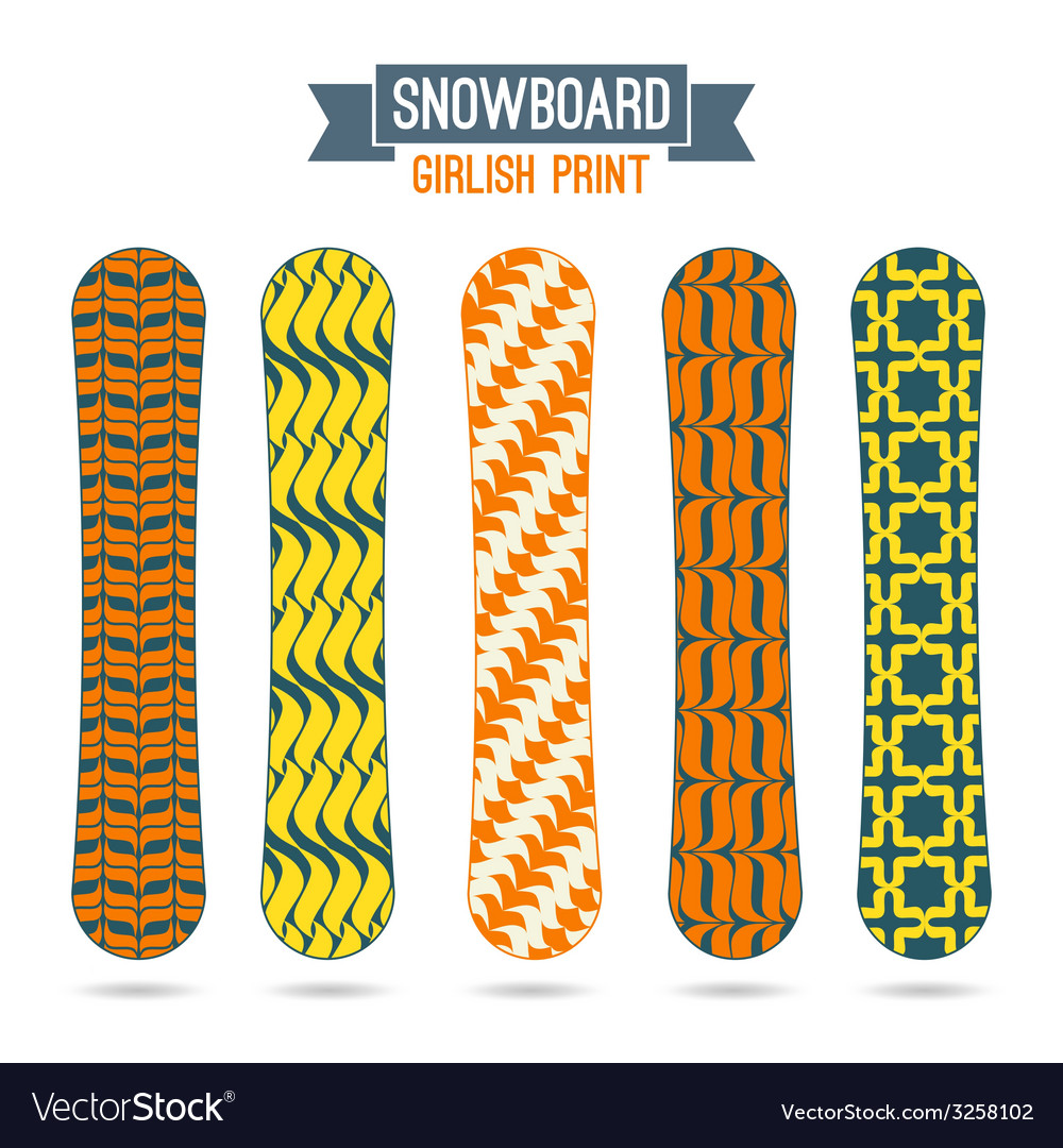 Girlish prints for snowboards vector | Price: 1 Credit (USD $1)