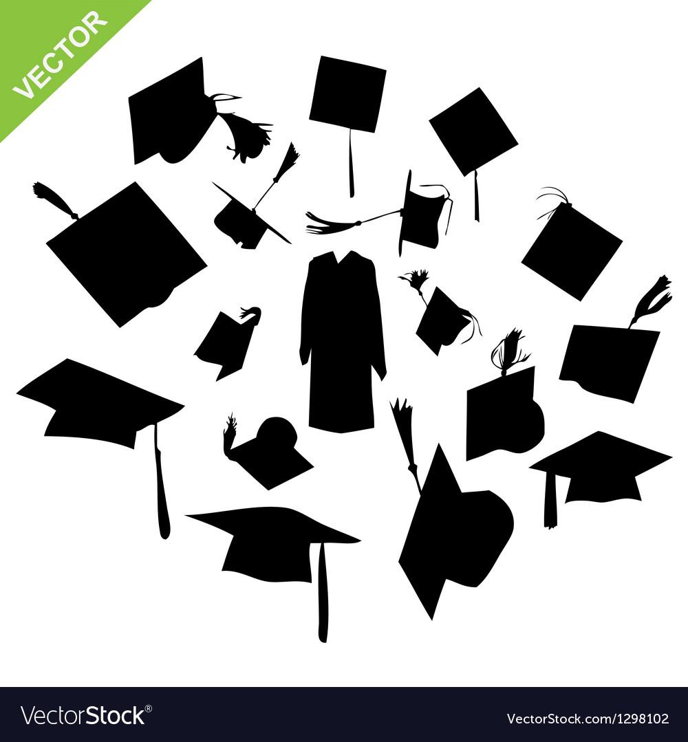 Graduate silhouettes vector | Price: 1 Credit (USD $1)