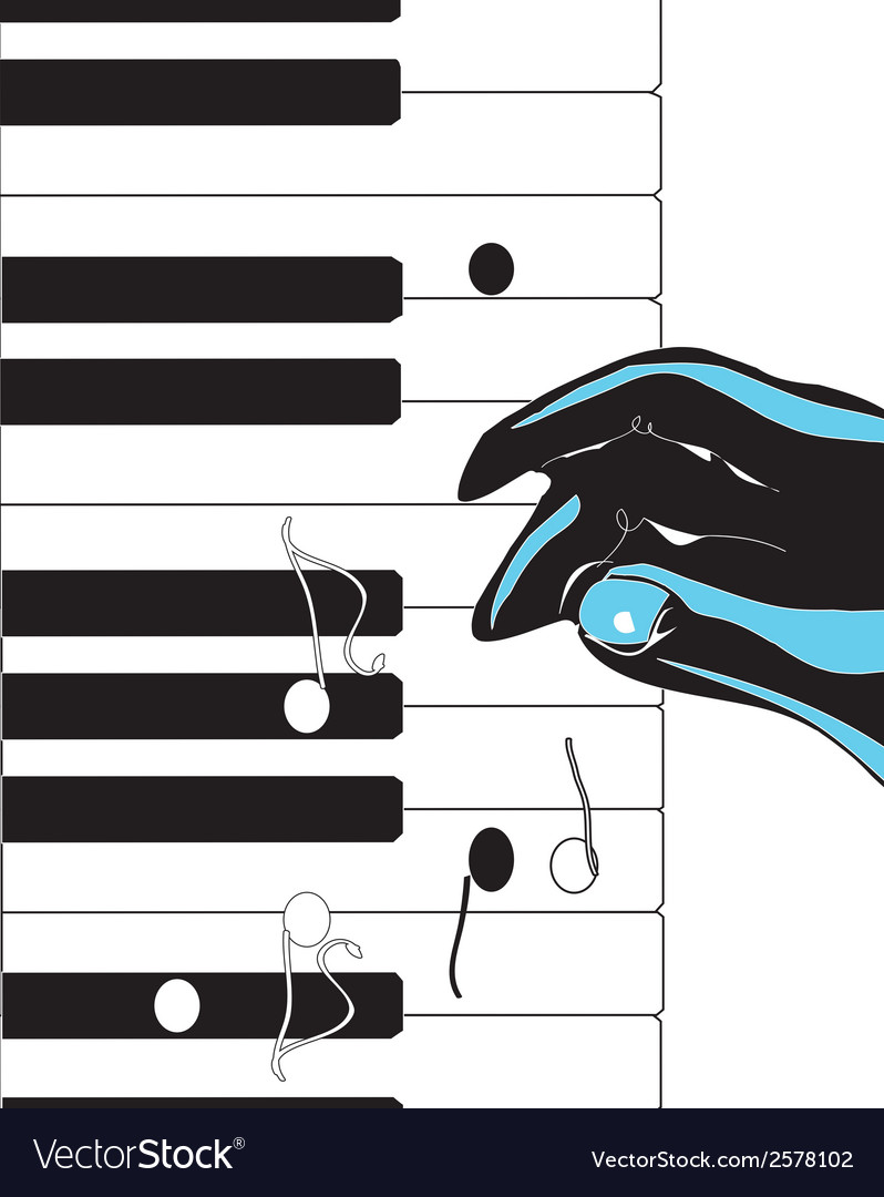 Hand playing pianovs vector | Price: 1 Credit (USD $1)
