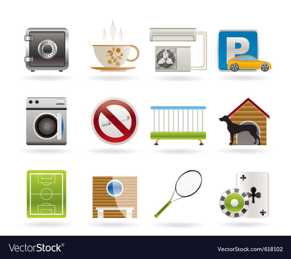 Hotel and motel amenity icons vector | Price: 1 Credit (USD $1)