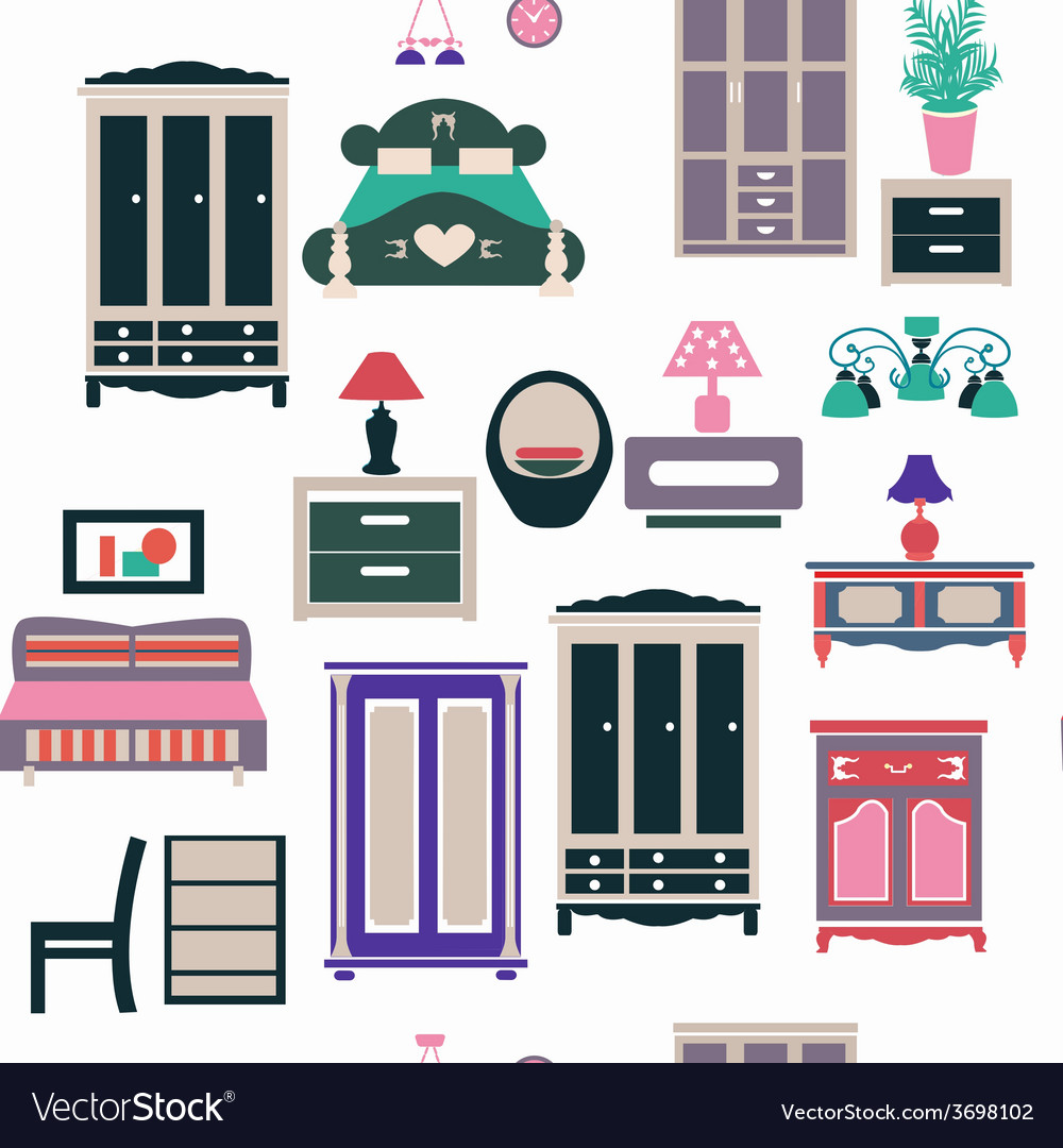 Vintage bedroom set furniture vector | Price: 1 Credit (USD $1)
