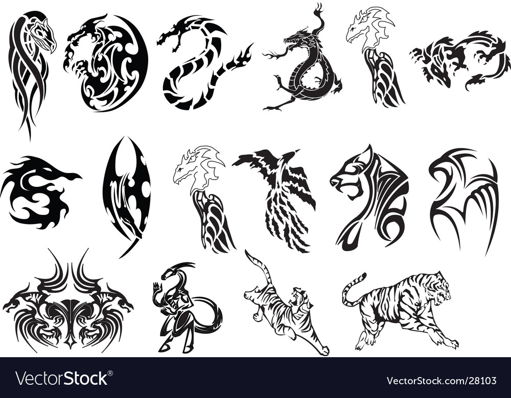 Animal tattoo set vector | Price: 1 Credit (USD $1)