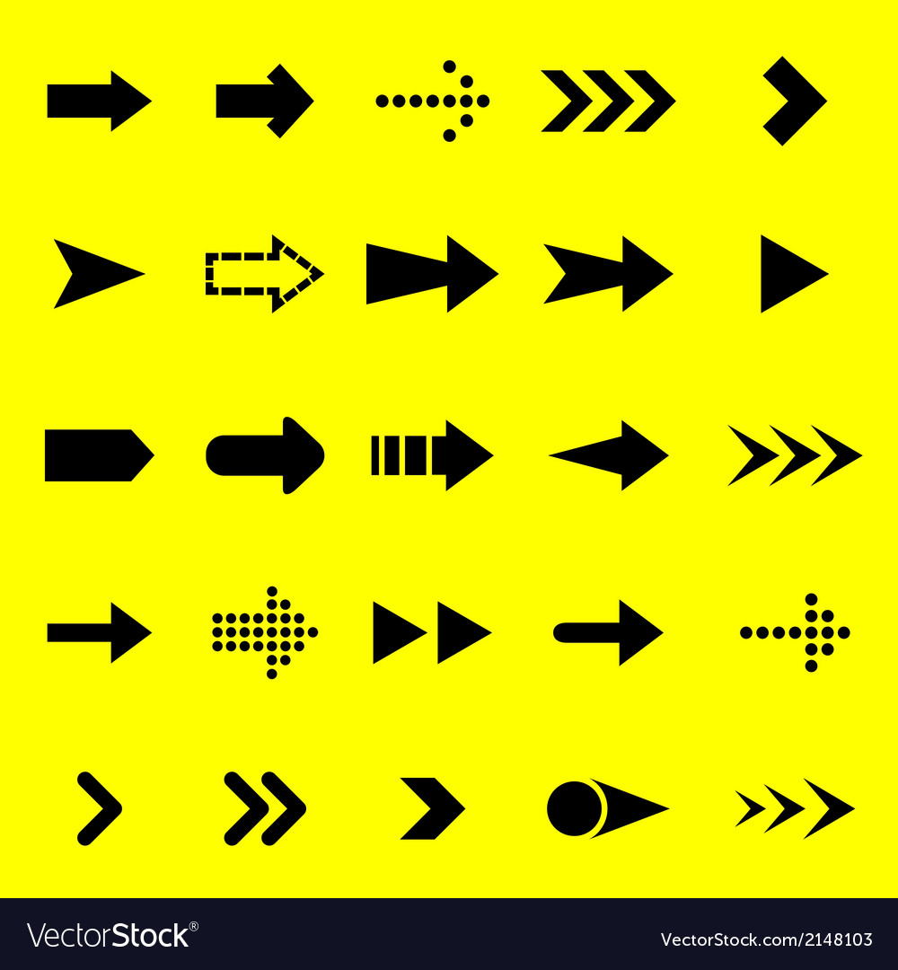 Arrow black icons on yellow background vector | Price: 1 Credit (USD $1)