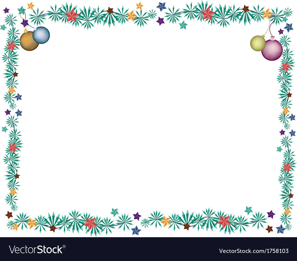 Christmas balls decoration on fir twigs border vector