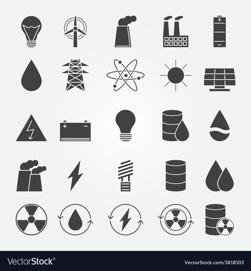 Energy industry icon set vector | Price: 1 Credit (USD $1)