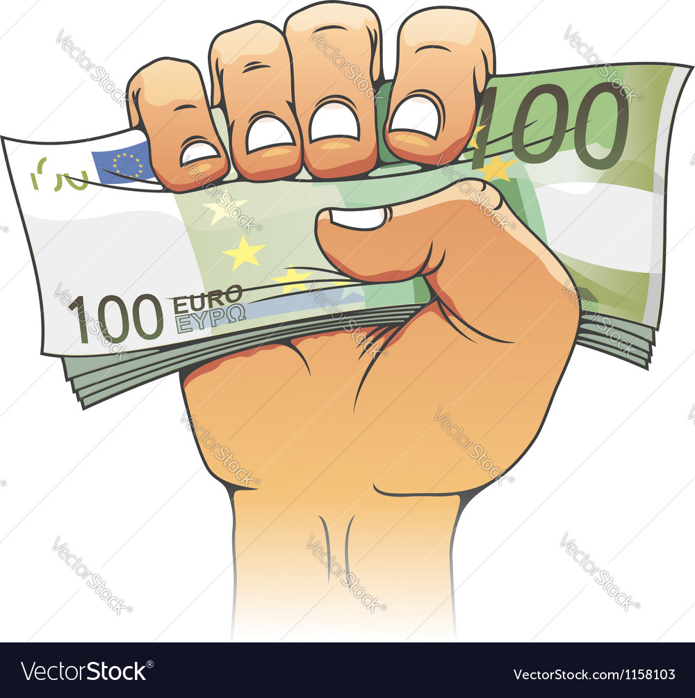 Euro banknote in people hand vector | Price: 1 Credit (USD $1)