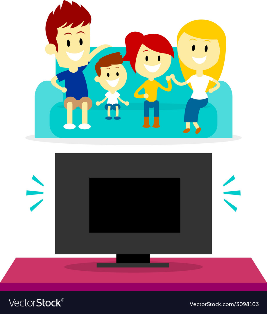 Family watching tv together vector | Price: 1 Credit (USD $1)