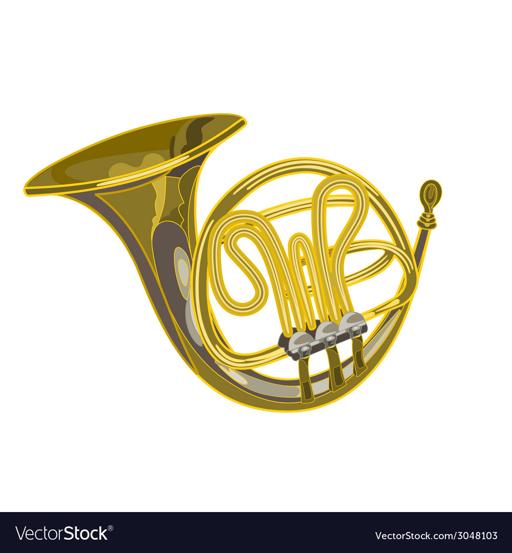French horn woodwind musical instrument vector | Price: 1 Credit (USD $1)