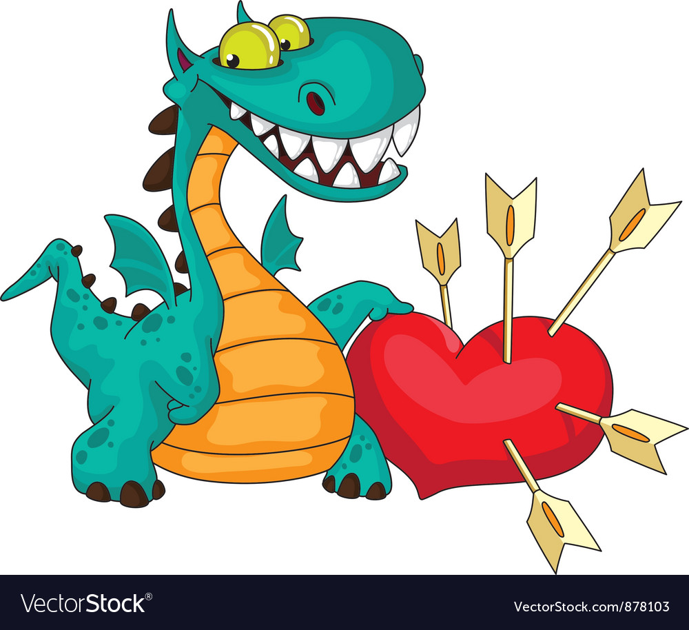 Great dragon and heart vector | Price: 3 Credit (USD $3)