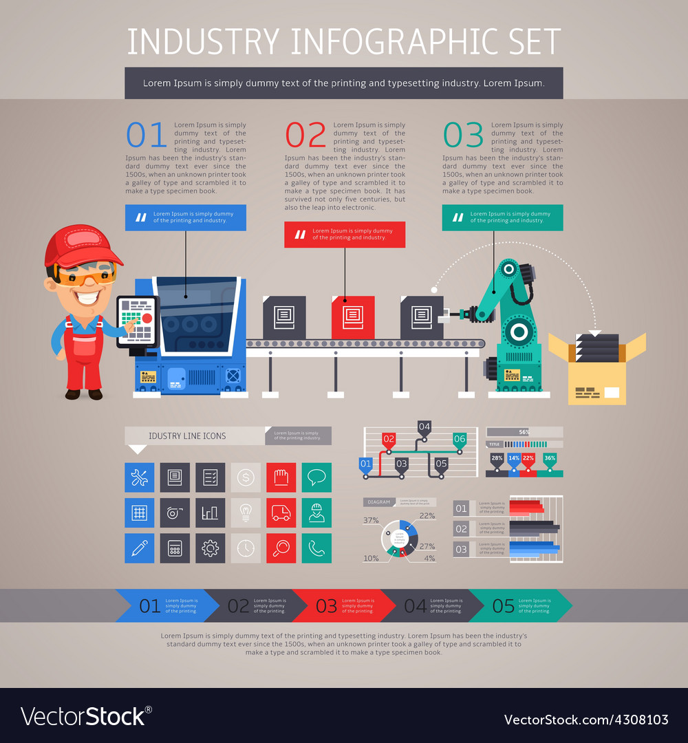 Industry infographic set with factory conveyor and vector