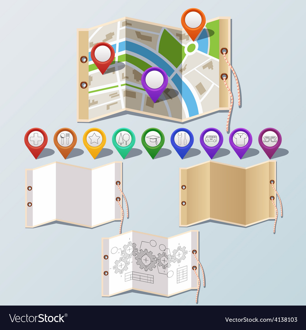 Navigation and paper set vector | Price: 3 Credit (USD $3)