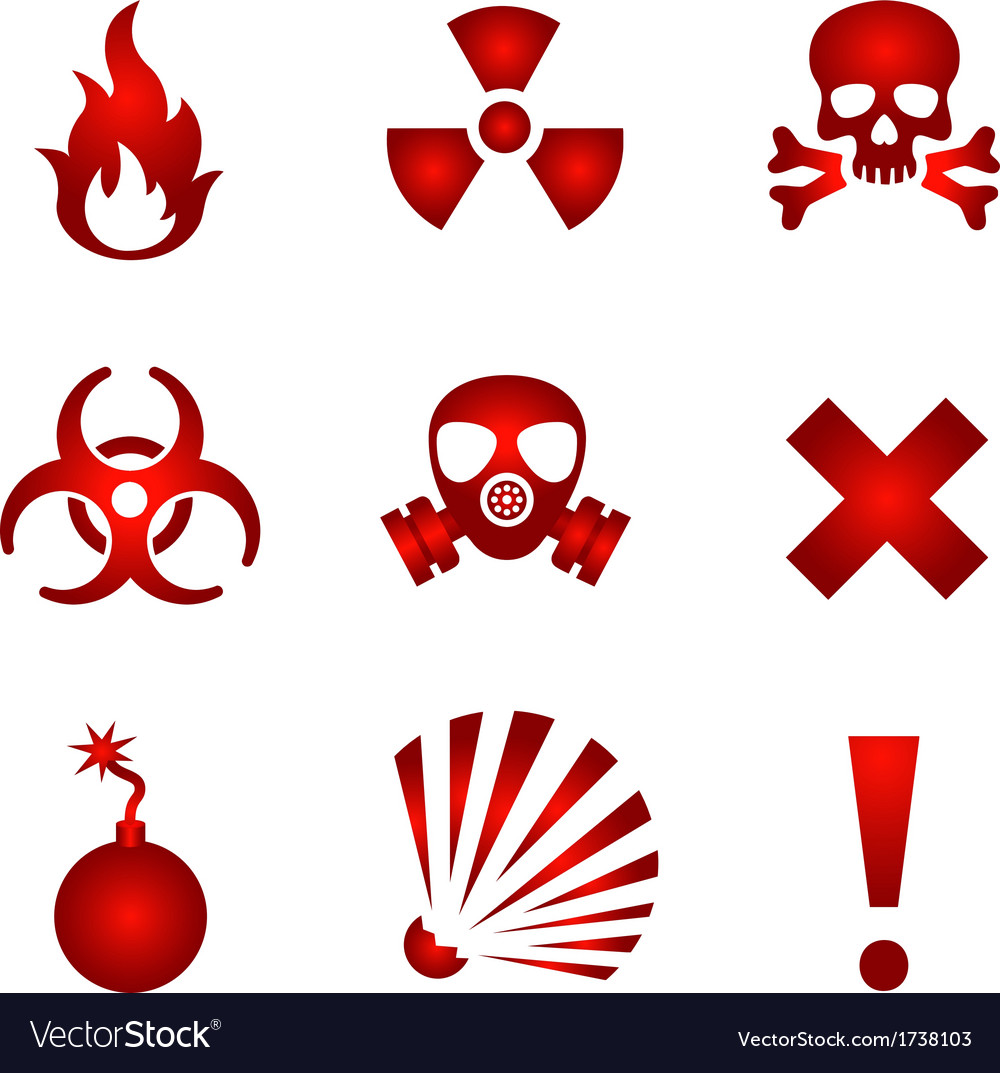 Red warning icons vector | Price: 1 Credit (USD $1)