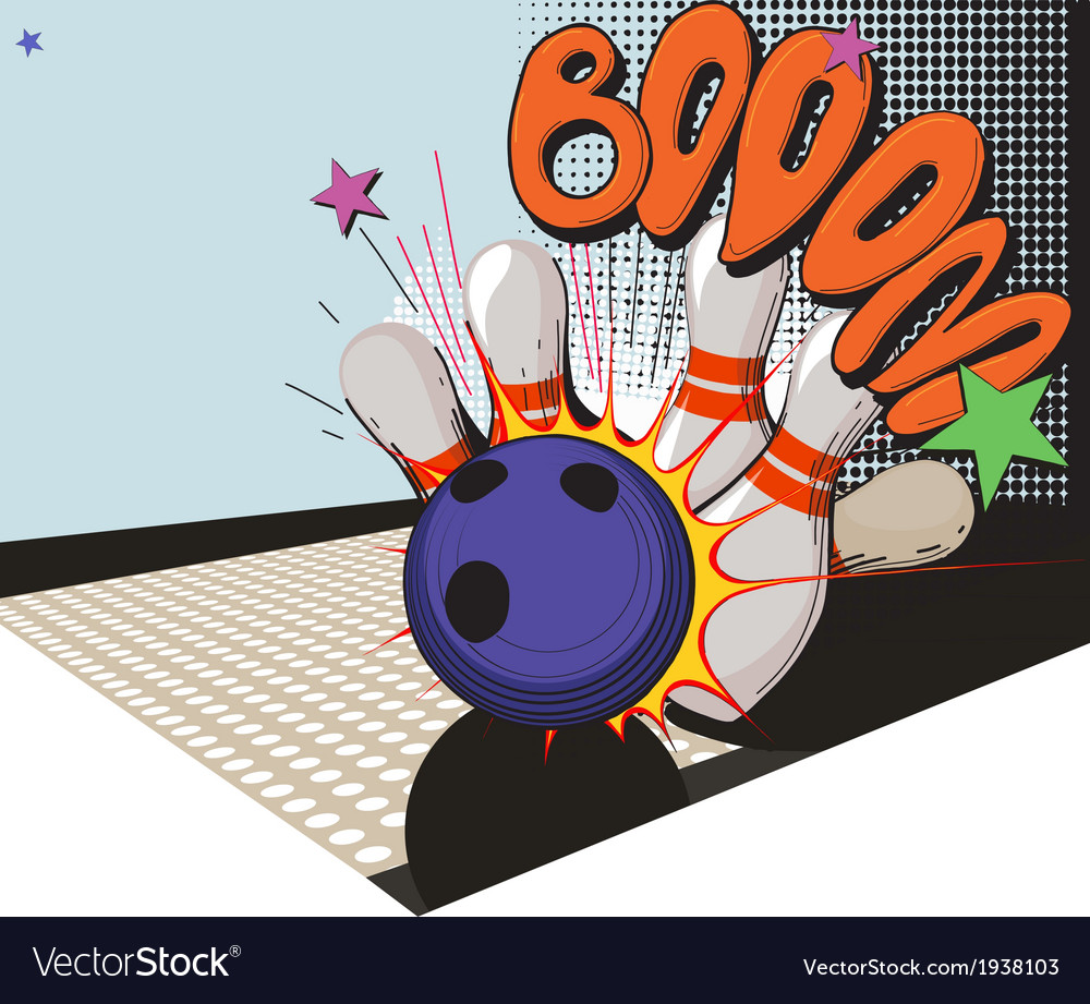 Retro styled bowling game picture vector | Price: 1 Credit (USD $1)