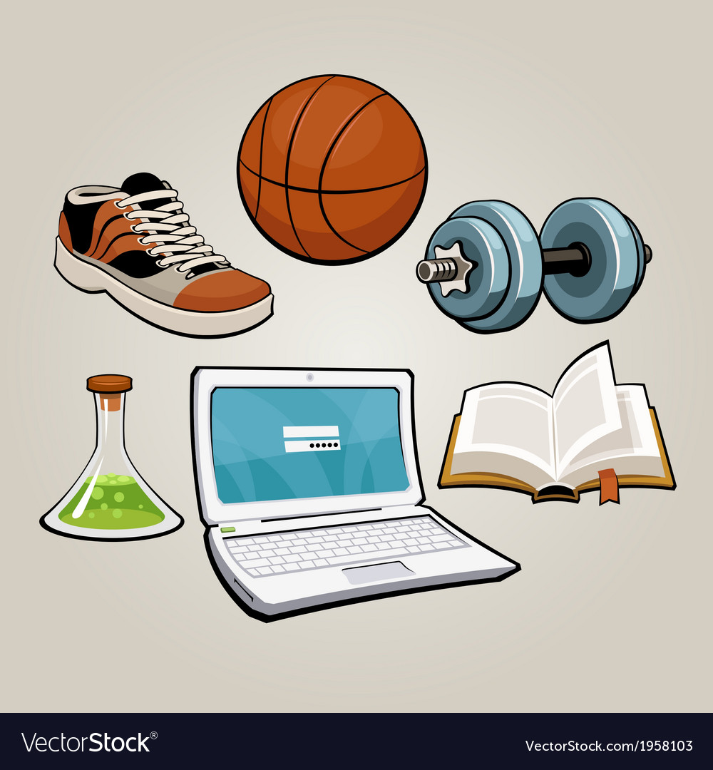 Sports and educational student set vector | Price: 1 Credit (USD $1)