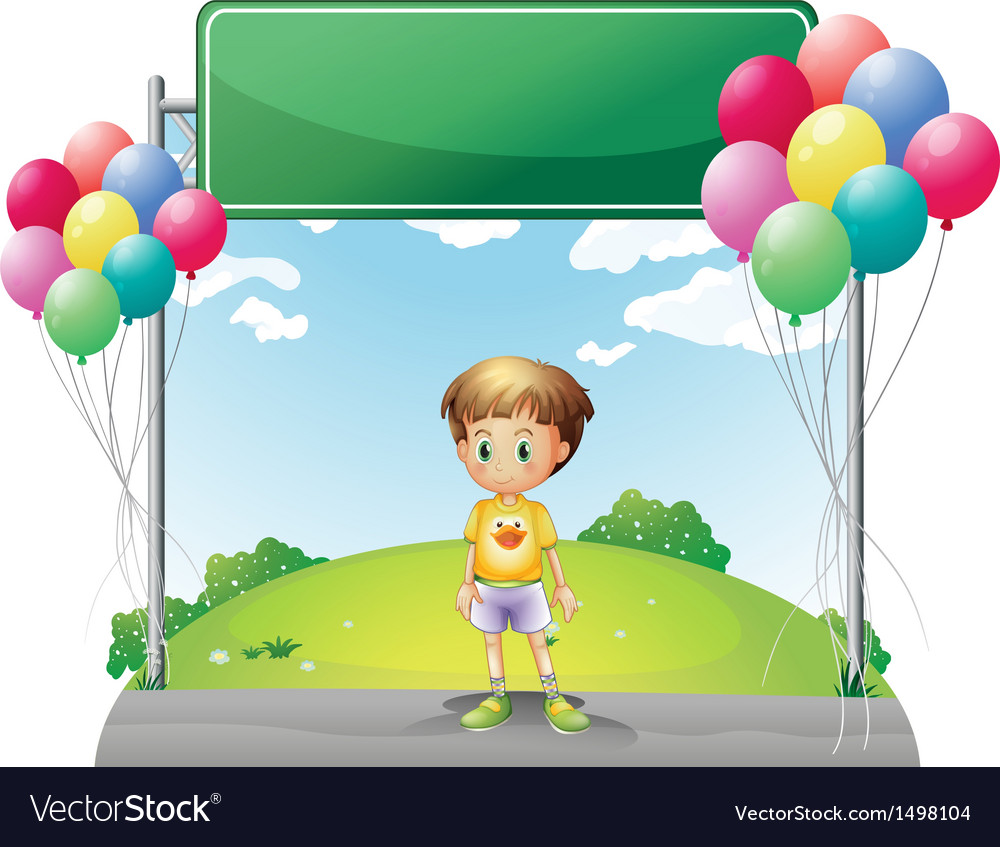 A young boy standing below the empty signage in vector | Price: 1 Credit (USD $1)