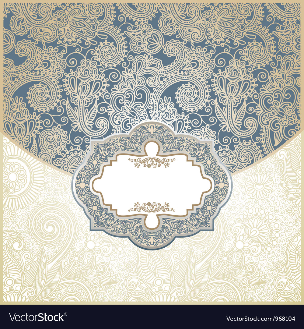 Blue and gold paisley square envelope vector   Price: 1 Credit (USD $1)