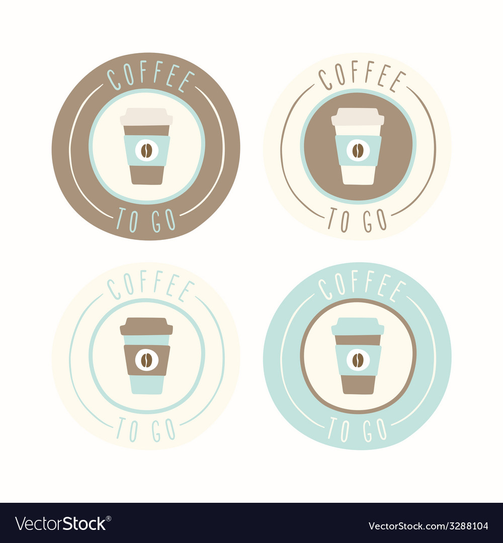 Coffee to go set of 4 badges vector | Price: 1 Credit (USD $1)