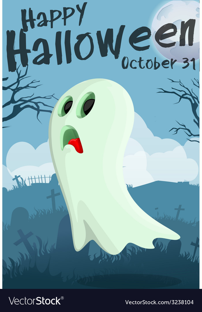 Halloween cartoon ghost vector | Price: 3 Credit (USD $3)