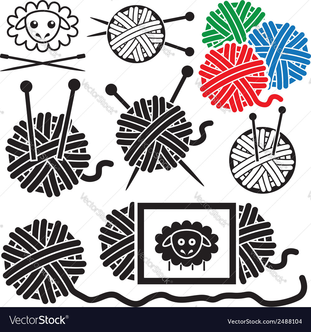 Icons of yarn balls vector | Price: 3 Credit (USD $3)