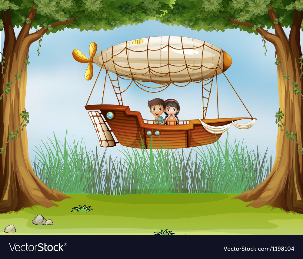 Kids riding in an airship vector | Price: 1 Credit (USD $1)