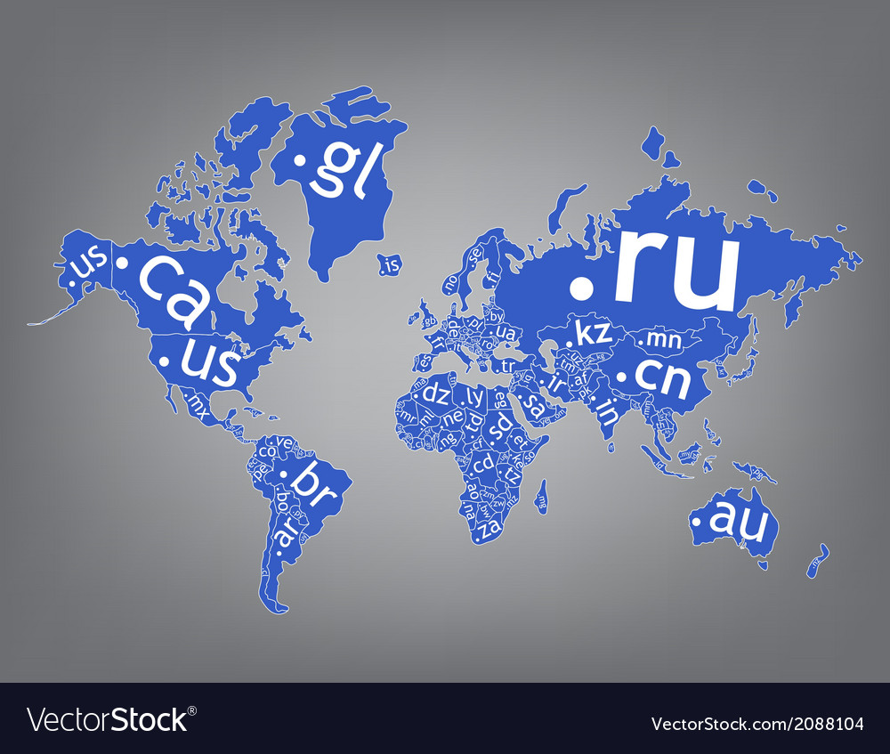 Map of the world top-level domain vector   Price: 1 Credit (USD $1)