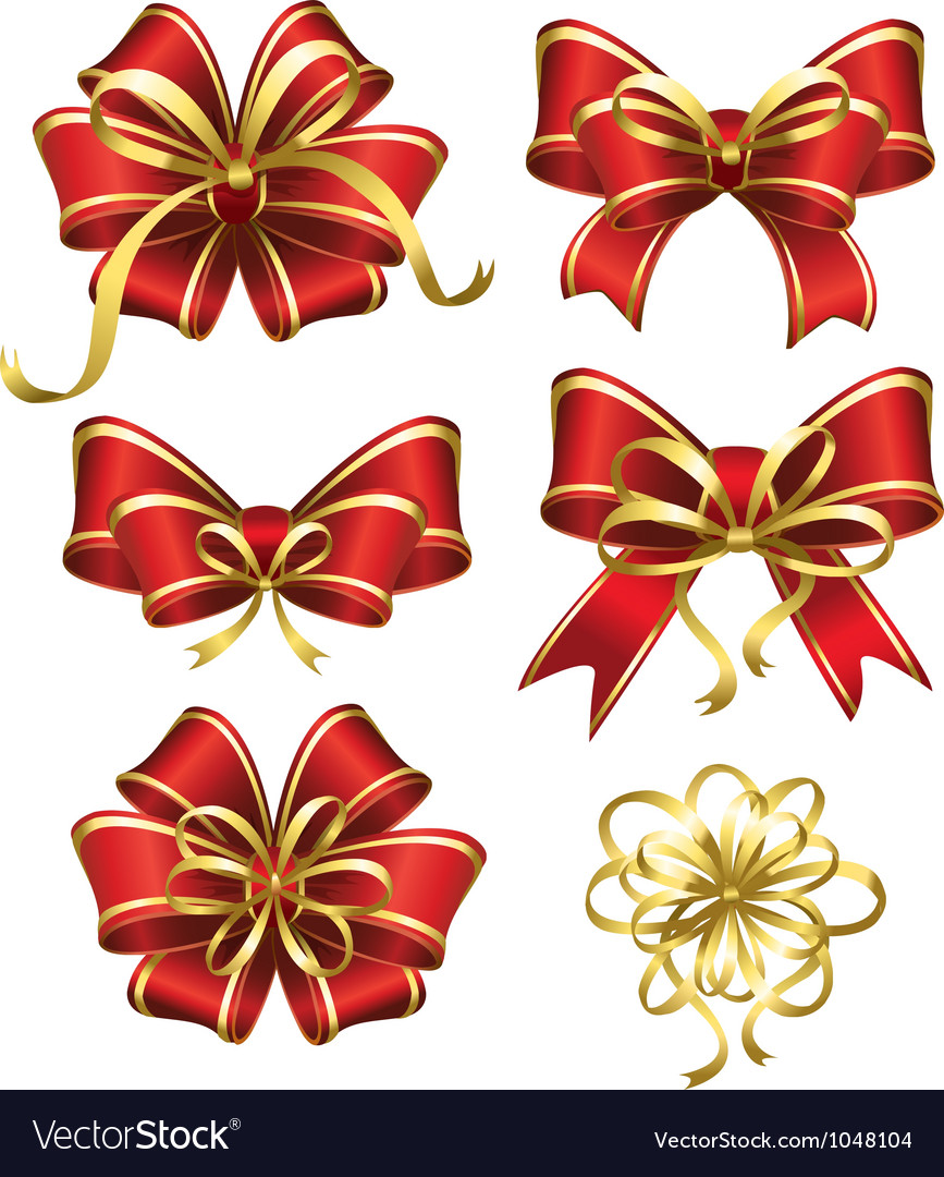 Set of red gift bows vector | Price: 3 Credit (USD $3)