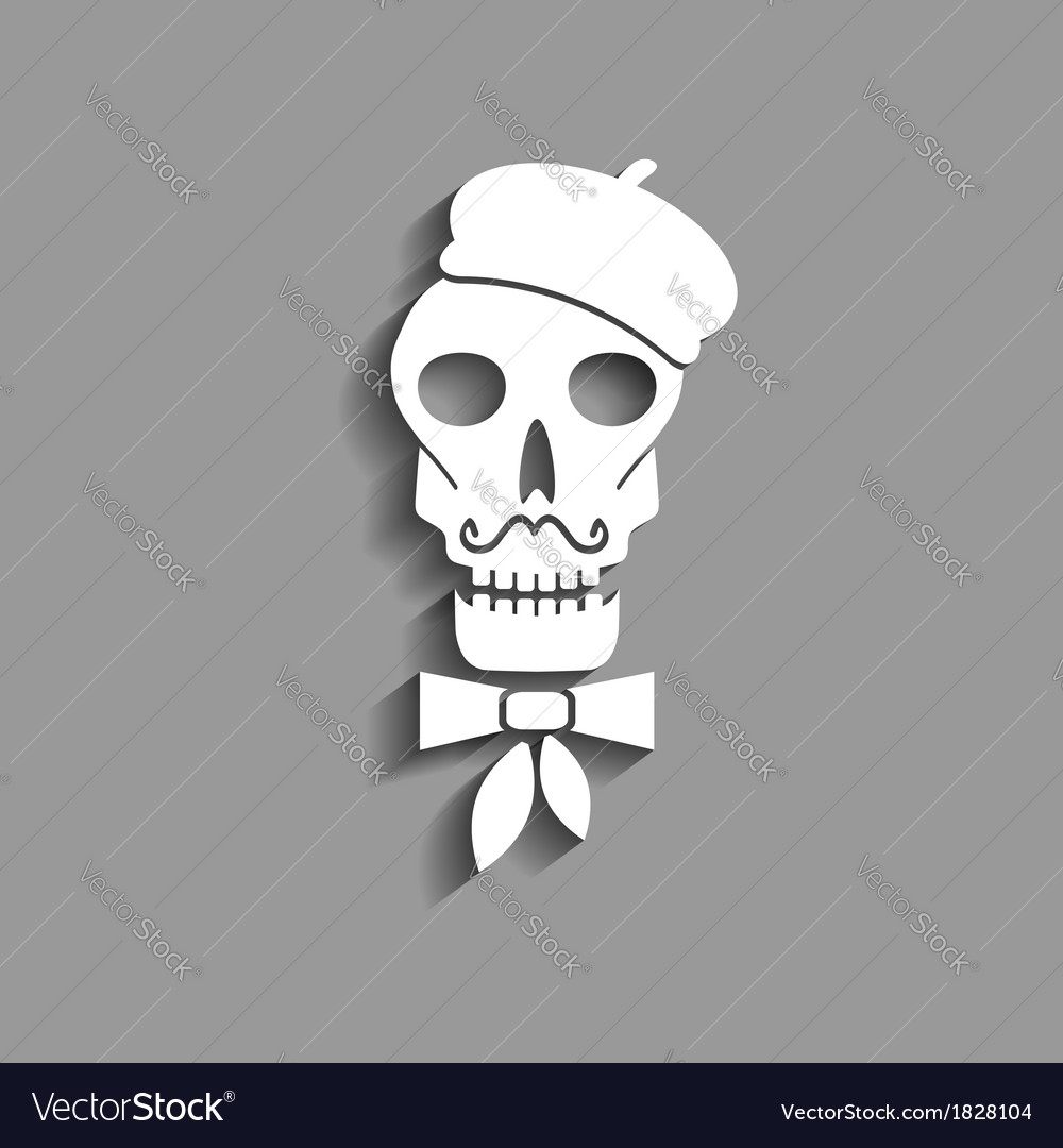 Skull in french beret paper silhouette vector | Price: 1 Credit (USD $1)