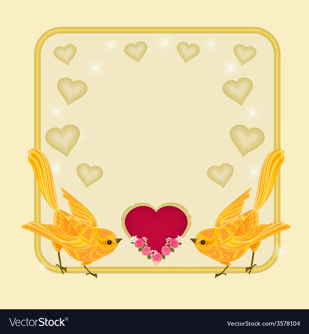 Valentines day frame heart and gold birds vector | Price: 1 Credit (USD $1)