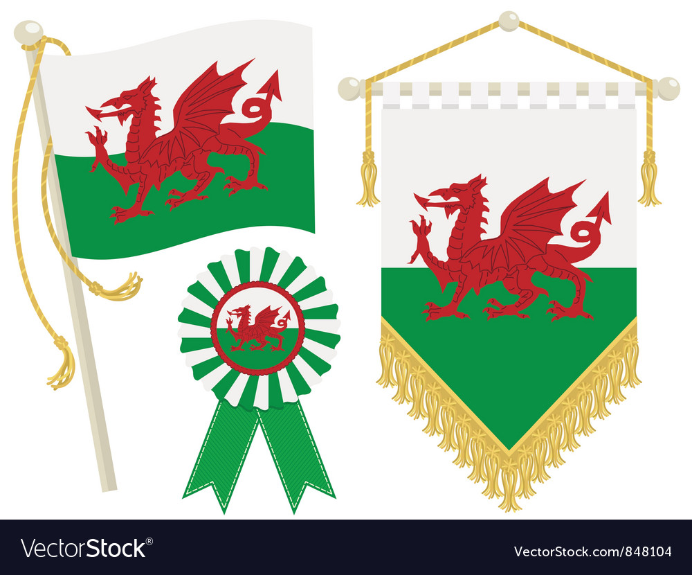 Wales flags vector | Price: 3 Credit (USD $3)