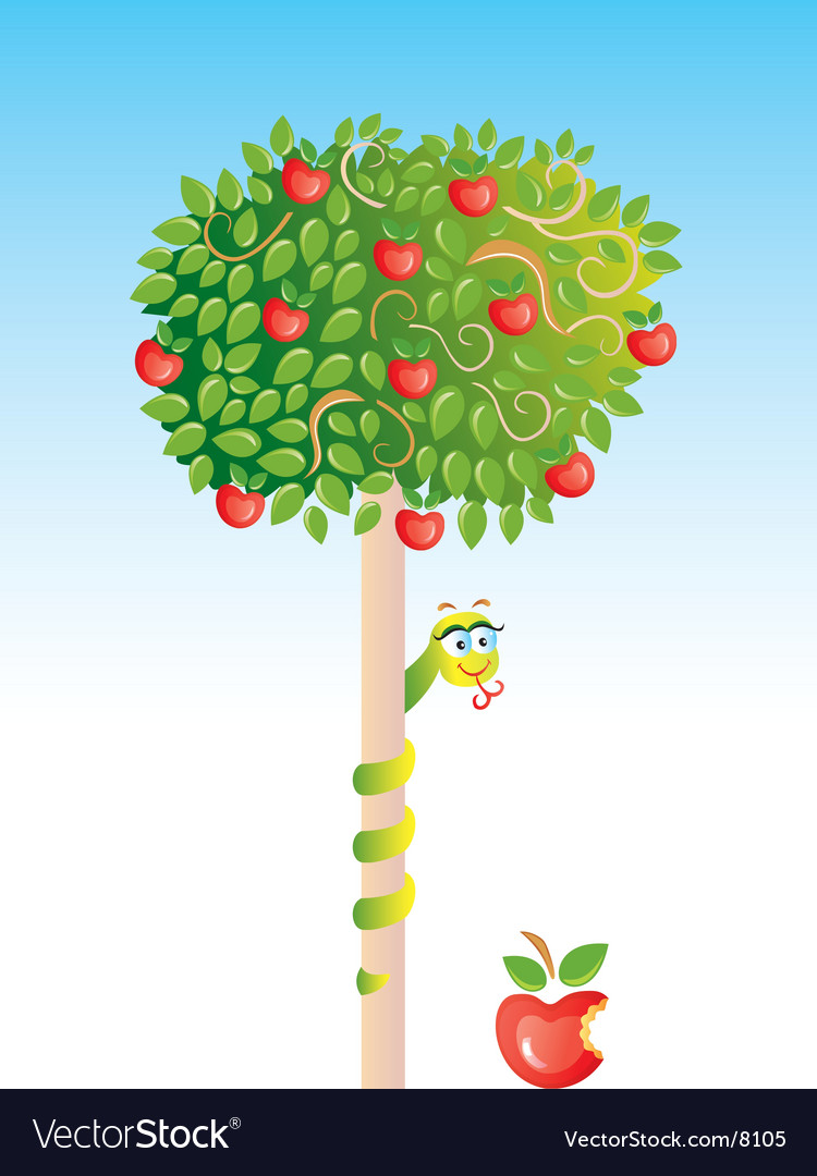 Apple-tree with snake vector | Price: 3 Credit (USD $3)