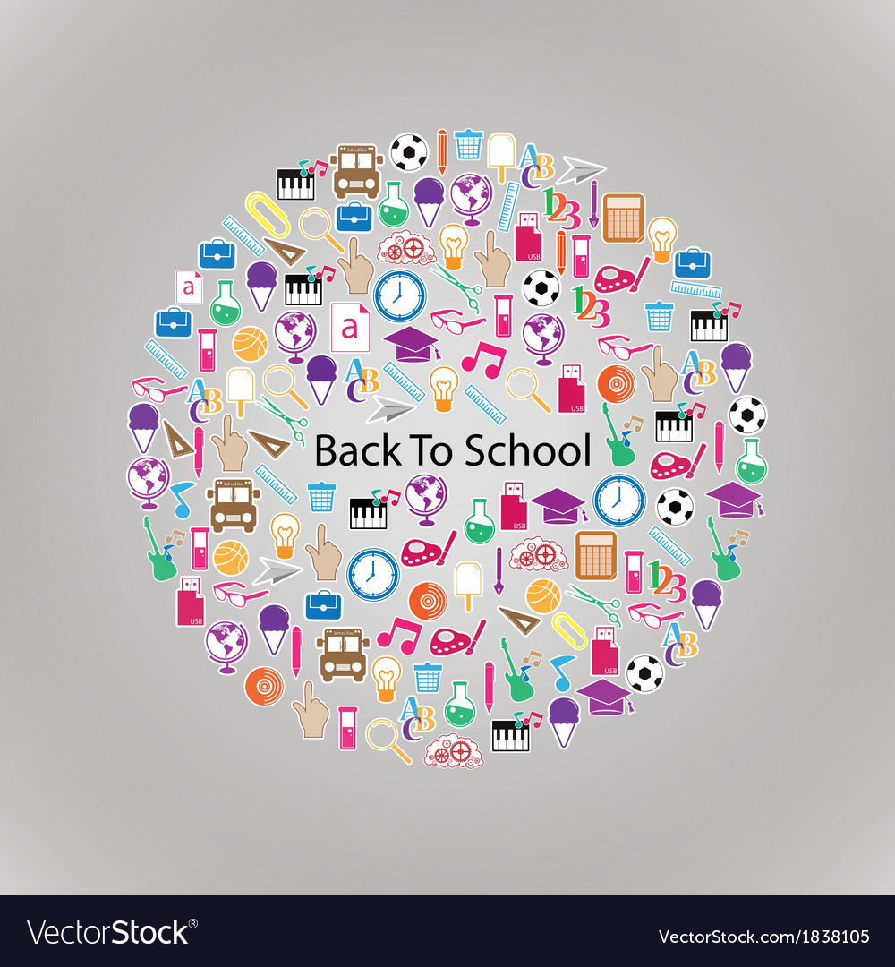 Back to school circle seamless children background vector | Price: 1 Credit (USD $1)