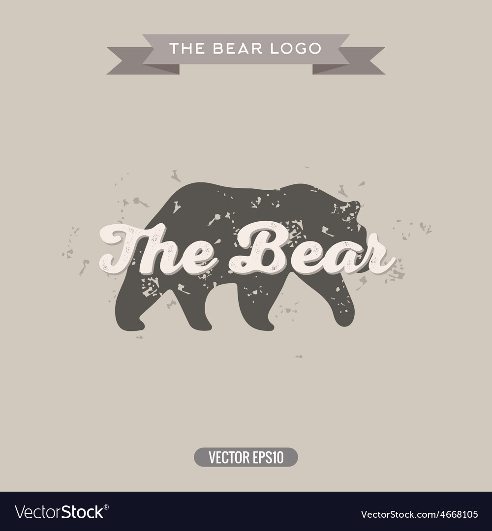 The bear vintage trend logo with effects scratches vector | Price: 1 Credit (USD $1)