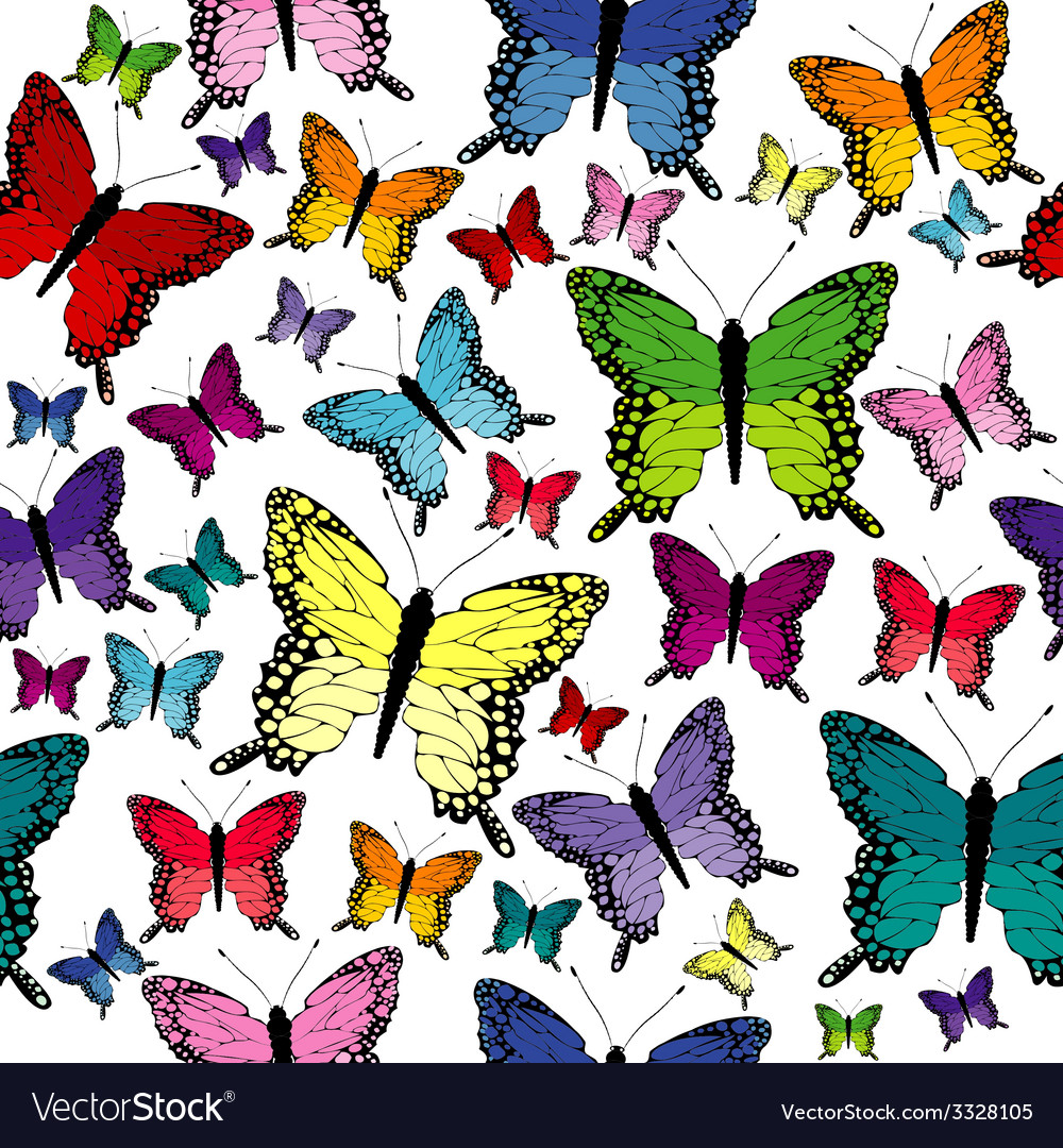 Colorful seamless with butterflies vector   Price: 1 Credit (USD $1)