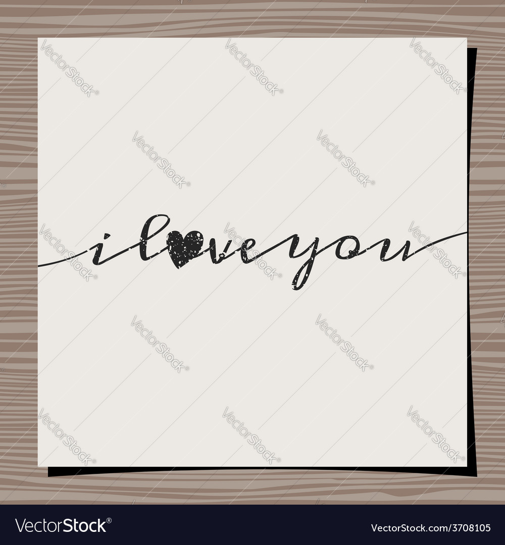 I love you vintage text design paper on wood vector | Price: 1 Credit (USD $1)