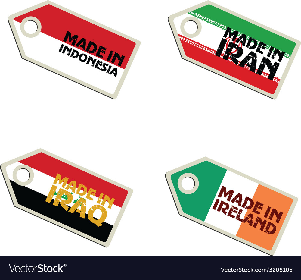 Label made in indonesia iran iraq ireland vector | Price: 1 Credit (USD $1)