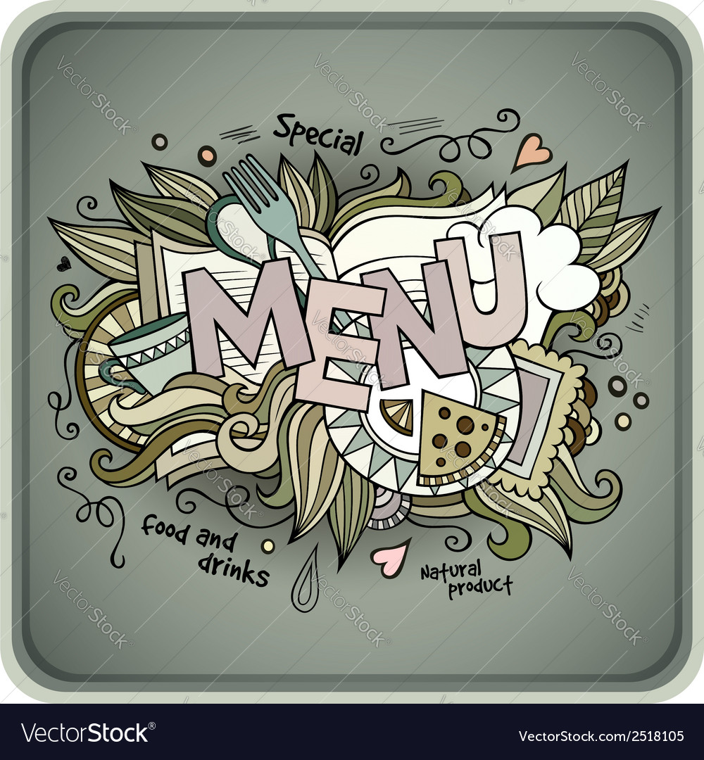 Menu hand lettering and doodles elements vector | Price: 1 Credit (USD $1)