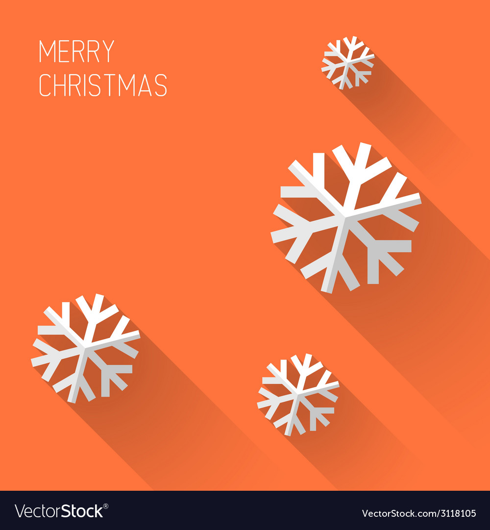 Modern orange christmas card with flat design vector | Price: 1 Credit (USD $1)