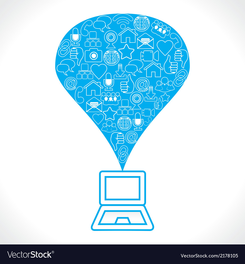 Social network icons make a balloon on laptop vector | Price: 1 Credit (USD $1)
