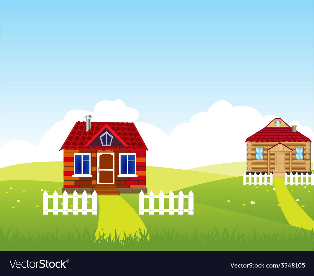 Village on hill vector | Price: 1 Credit (USD $1)