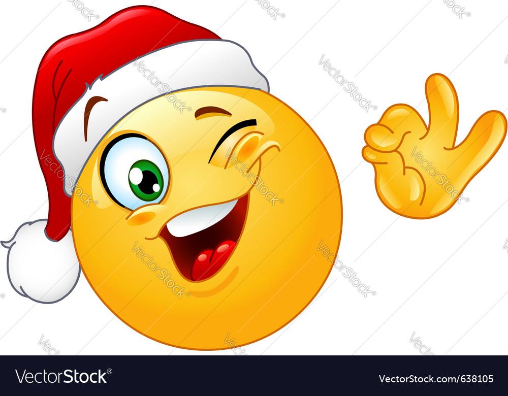 Winking emoticon with santa hat vector | Price: 1 Credit (USD $1)