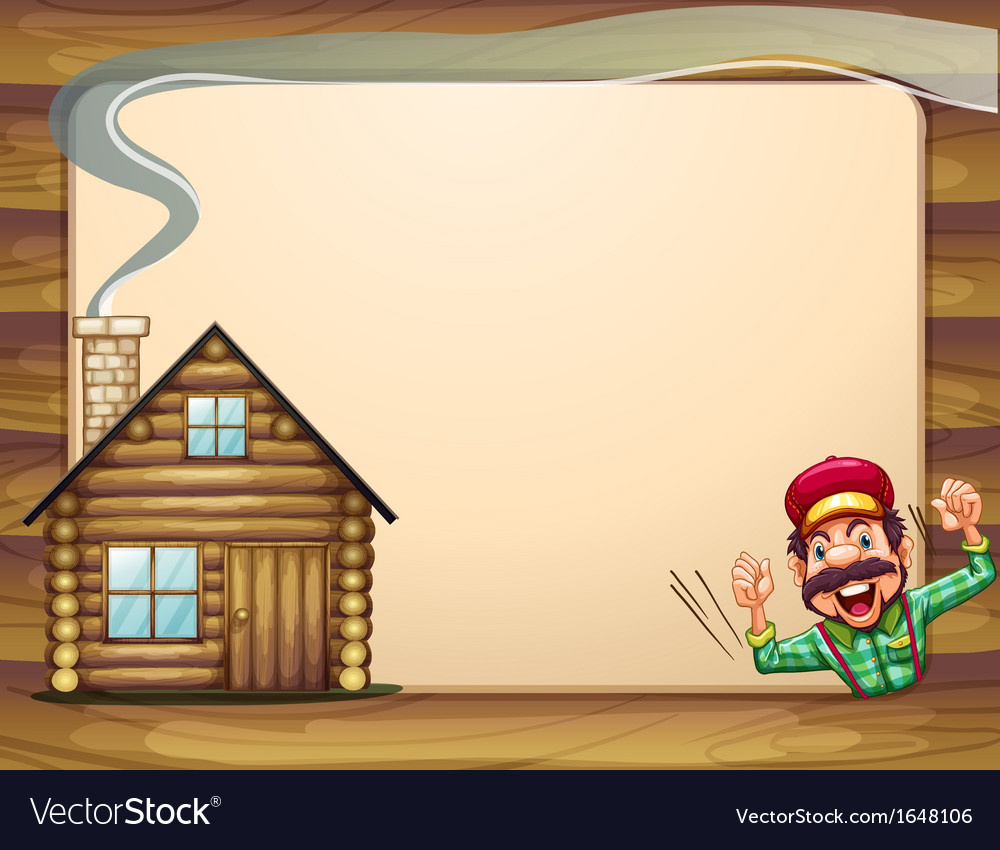 An empty wooden frame with a lumberjack shouting vector | Price: 1 Credit (USD $1)