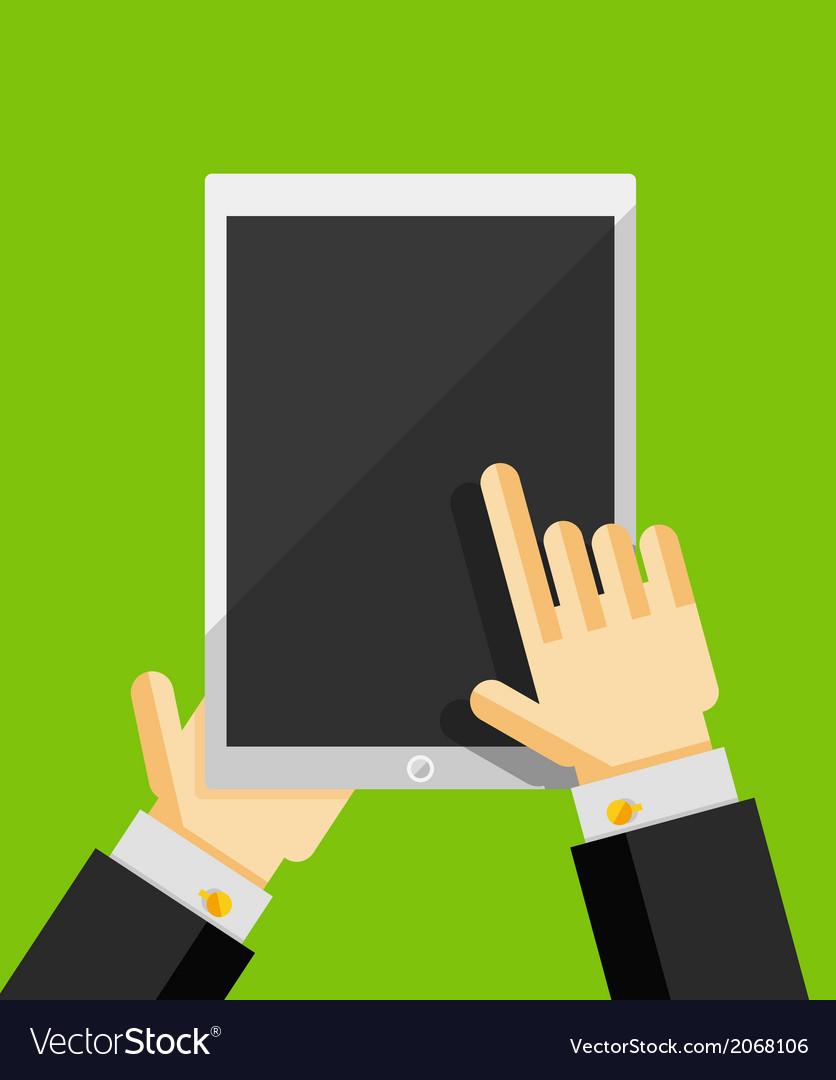 Business man using tablet flat ui design vector   Price: 1 Credit (USD $1)