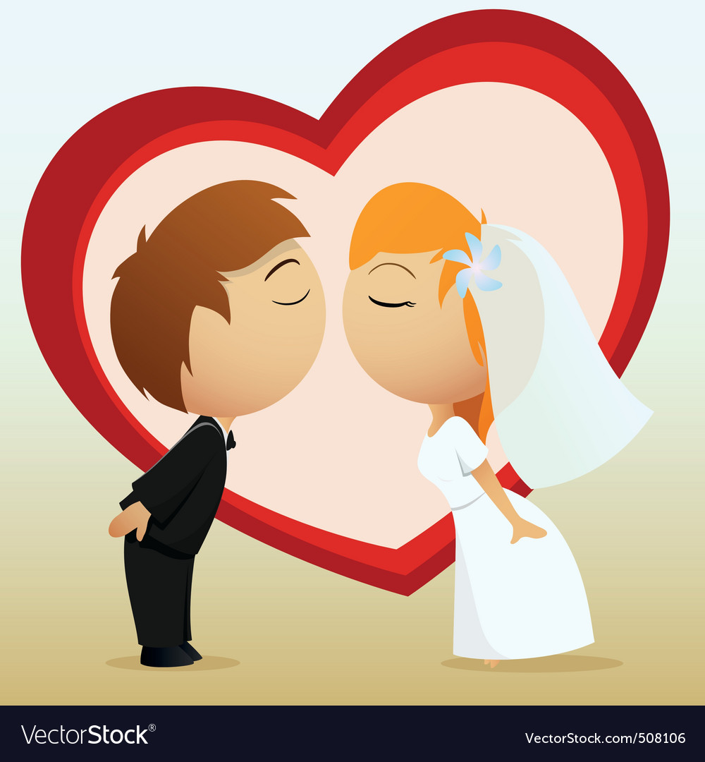 Cartoon bride and groom kiss vector | Price: 1 Credit (USD $1)