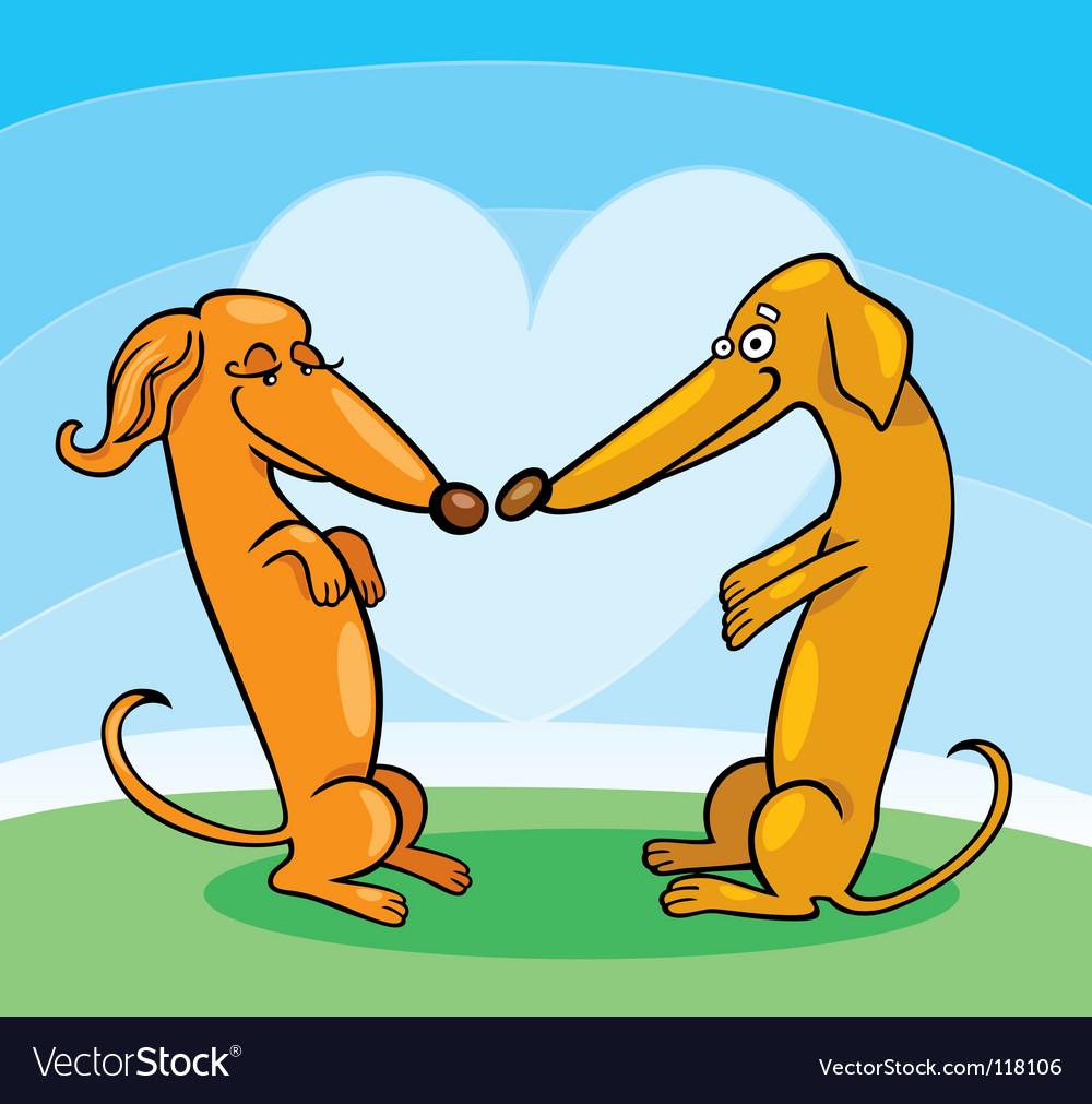 Cartoon dachshunds in love vector | Price: 1 Credit (USD $1)