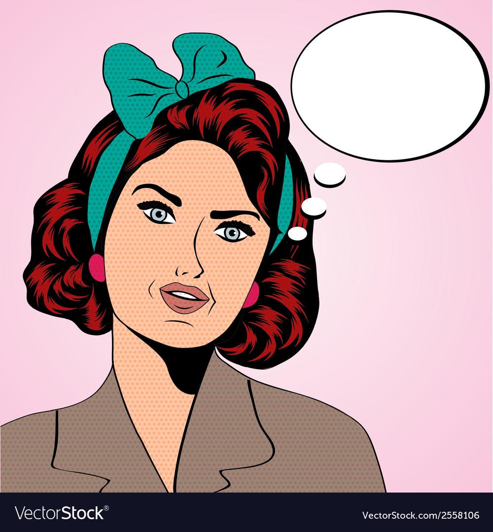 Cute retro woman in comics style vector | Price: 1 Credit (USD $1)