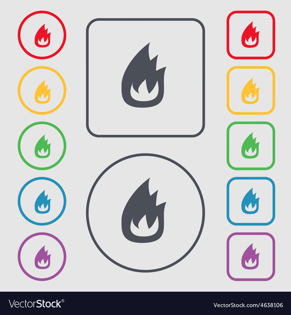 Fire flame icon sign symbol on the round and vector | Price: 1 Credit (USD $1)