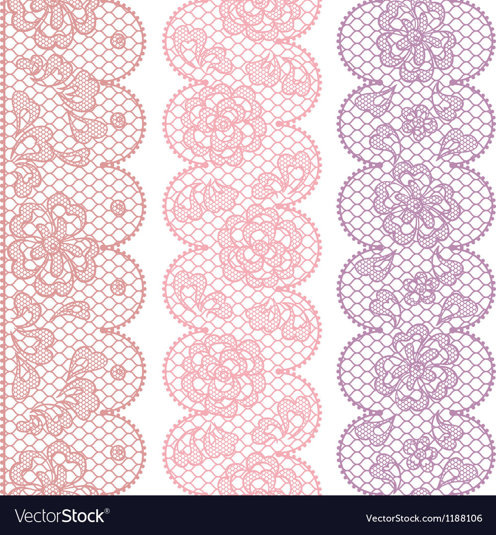 Lace fabric seamless borders with abstact flowers vector   Price: 1 Credit (USD $1)